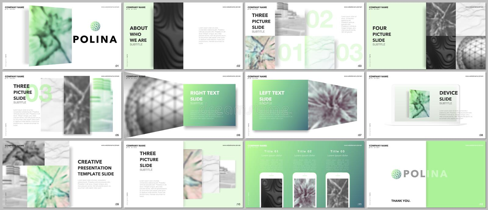 Minimal presentations design, portfolio vector templates with elements on white background. Multipurpose template for royalty free illustration