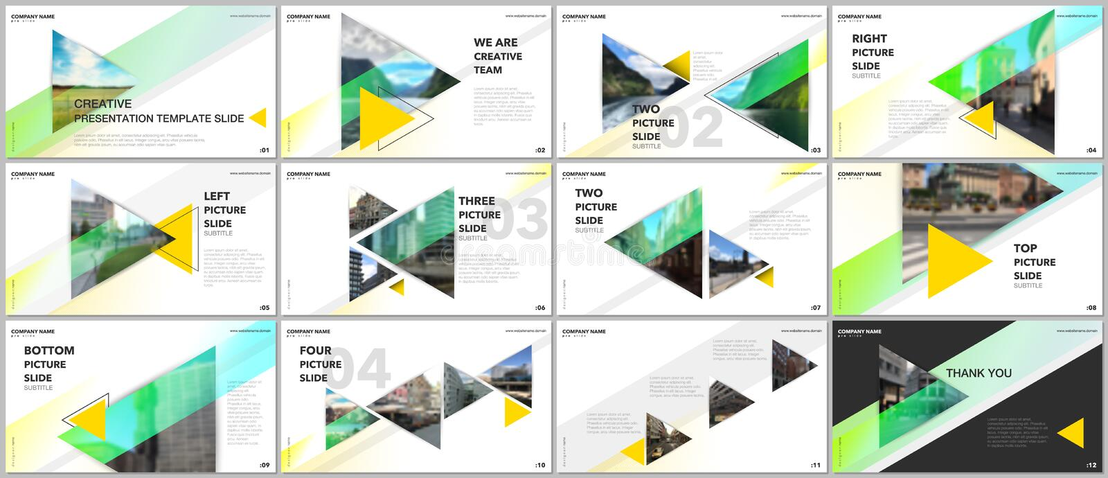 Minimal presentations design, portfolio vector templates with triangles and triangular elements. Multipurpose template royalty free illustration