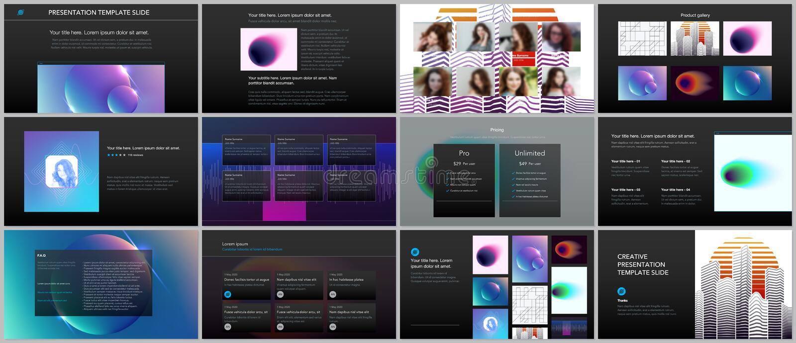 Minimal presentations, portfolio templates with colorful gradient blurs and geometric backgrounds. Brochure cover vector vector illustration