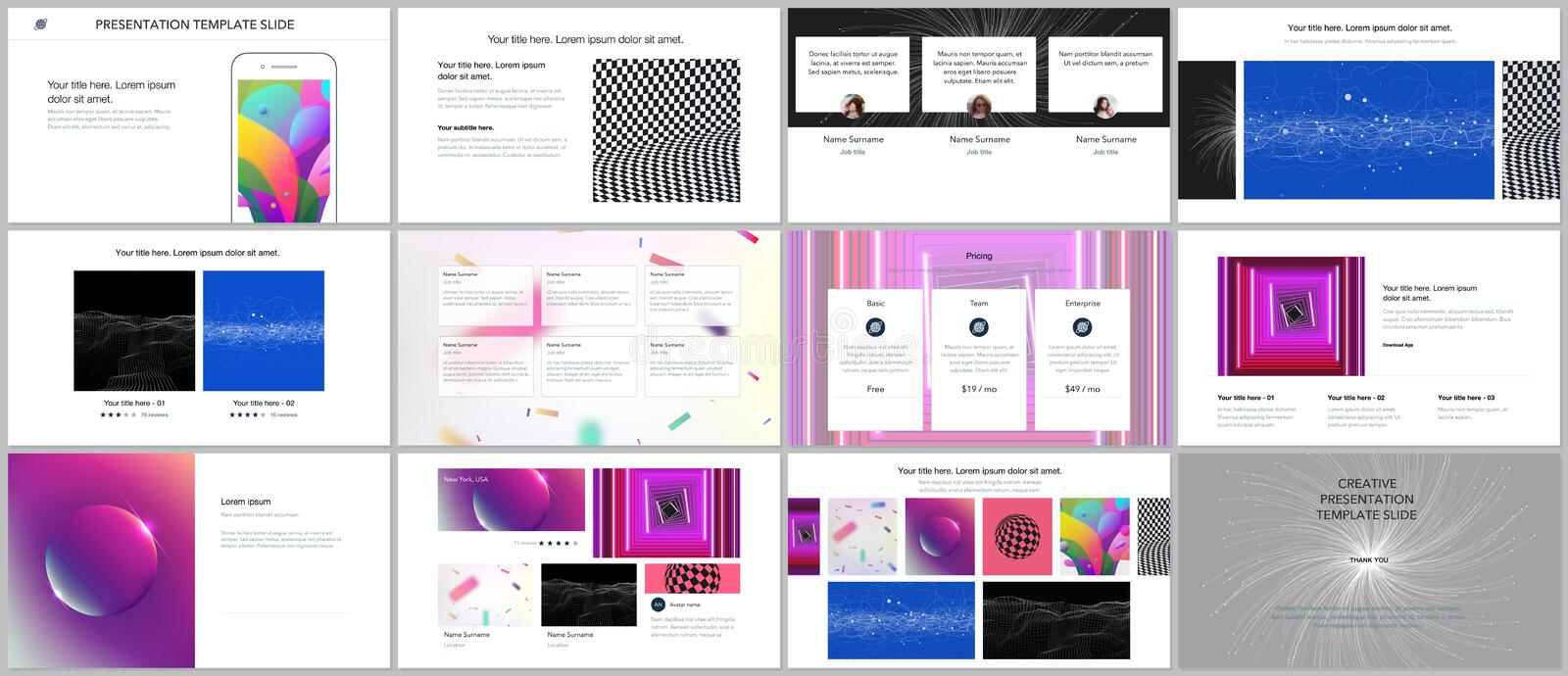 Minimal presentations, portfolio templates with vibrant colorful abstract gradient backgrounds. Brochure cover vector. Design. Presentation slides for flyer vector illustration