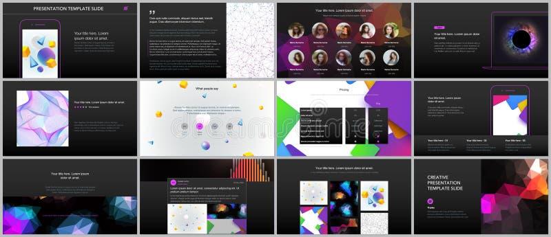Minimal presentations, portfolio templates with vibrant geometric backgrounds made simple shapes in hipster style. Presentation slides for flyer, leaflet stock illustration