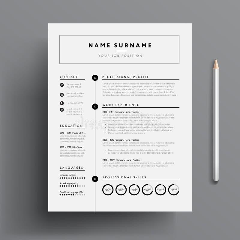 Minimal professional CV / resume template - super clean modern v. Ector infographic - black and white resume cv template stock illustration