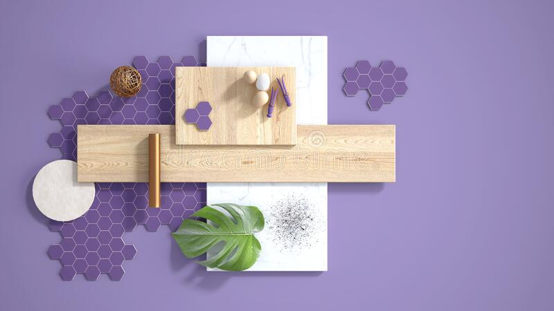 Minimal purple background with copy space, marble slab, wooden planks, cutting board, mosaic tiles, monstera leaf, eggs, pins and. Decors. Kitchen interior vector illustration