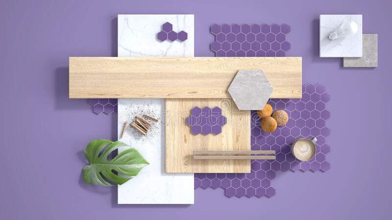 Minimal purple background, copy space, marble slab, wooden planks, cutting board, mosaic tiles, plant leaf, cappuccino, cookies,. Cinnamon. Kitchen interior stock illustration