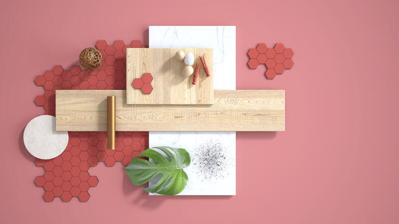 Minimal red background with copy space, marble slab, wooden planks, cutting board, mosaic tiles, monstera leaf, eggs, pins and. Decors. Kitchen interior design stock illustration