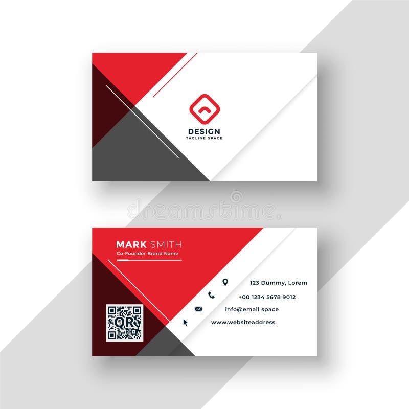 Minimal red business card template design vector illustration