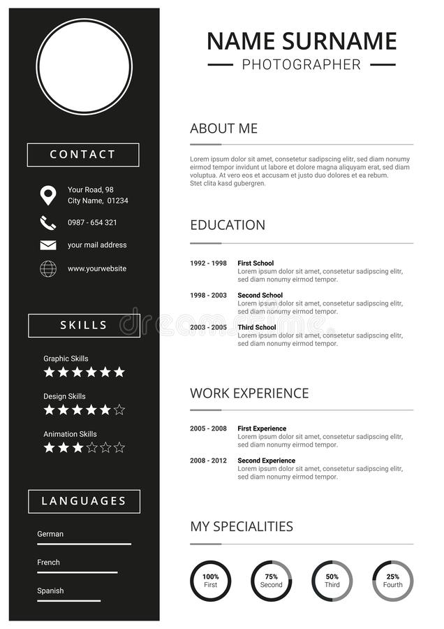Minimal Resume CV Template, clean black and white design vector illustration
