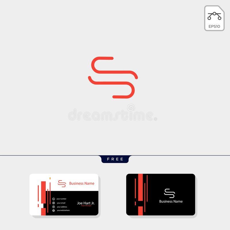 Minimal S or SS initial creative logo template vector illustration, get free business card template design. Minimal S or SS initial logo template vector stock illustration