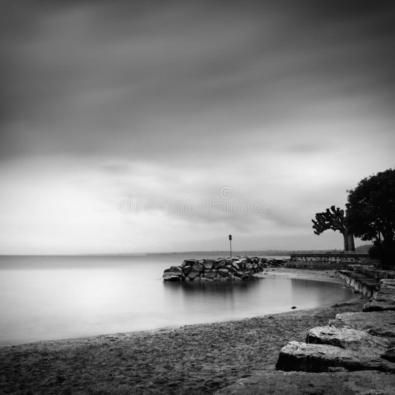 Minimal seascape from the beach stock image