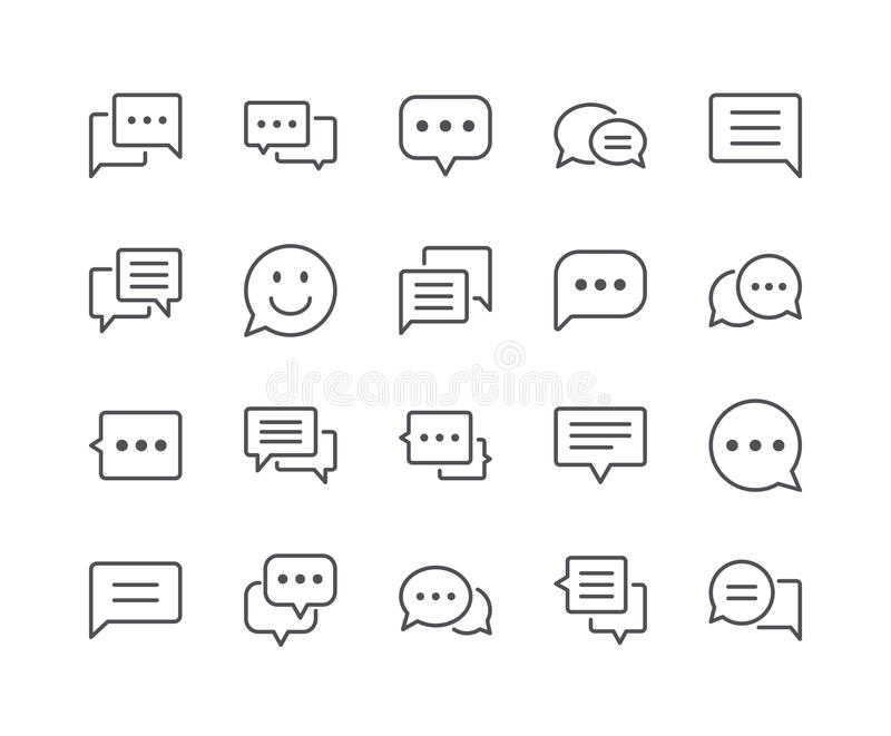 Minimal Set of Chat Bubble Line Icons vector illustration
