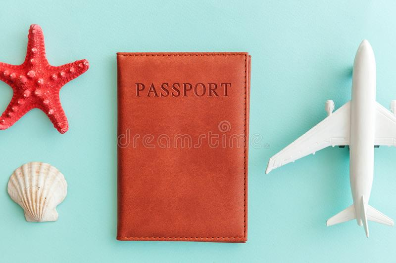 Minimal simple flat lay travel adventure trip concept on blue pastel colourful trendy modern background. Vacation travel adventure trip concept. Minimal simple stock photo