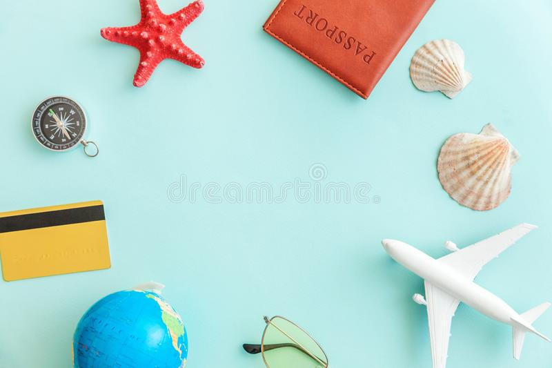 Minimal simple flat lay travel adventure trip concept on blue pastel colourful trendy modern background. Vacation travel adventure trip concept. Minimal simple stock images