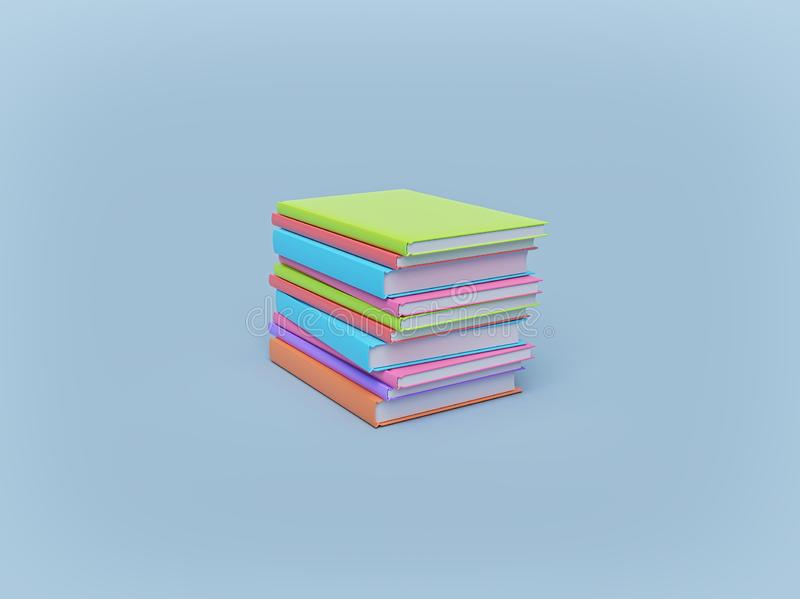 Minimal Stack of colorful books on pastel background. education concept. 3d rendering royalty free illustration