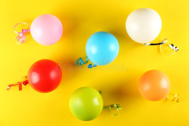 Birthday party kit with copy space. stock photography