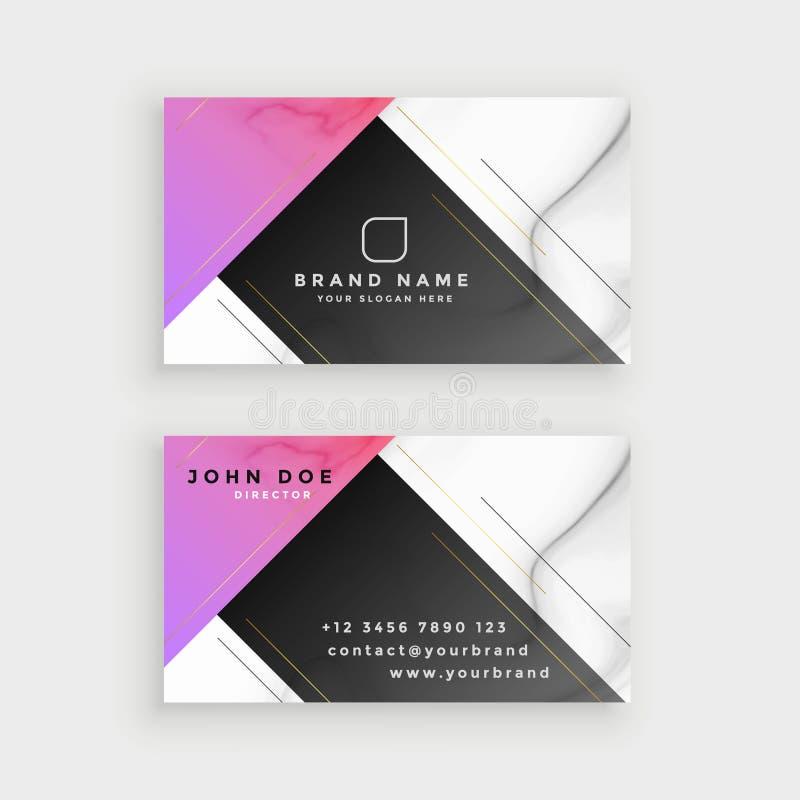 Minimal style marble business card design stock illustration