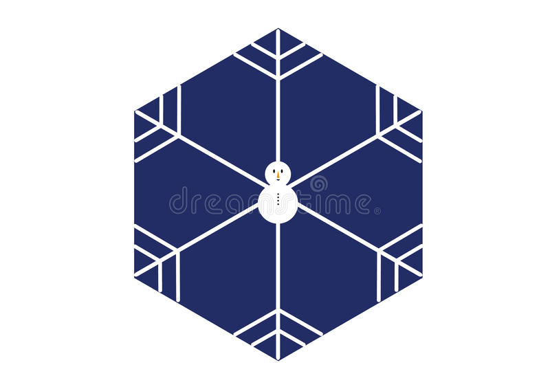 Minimal style snowman snowflake in hexagon shape on blue background royalty free stock photos