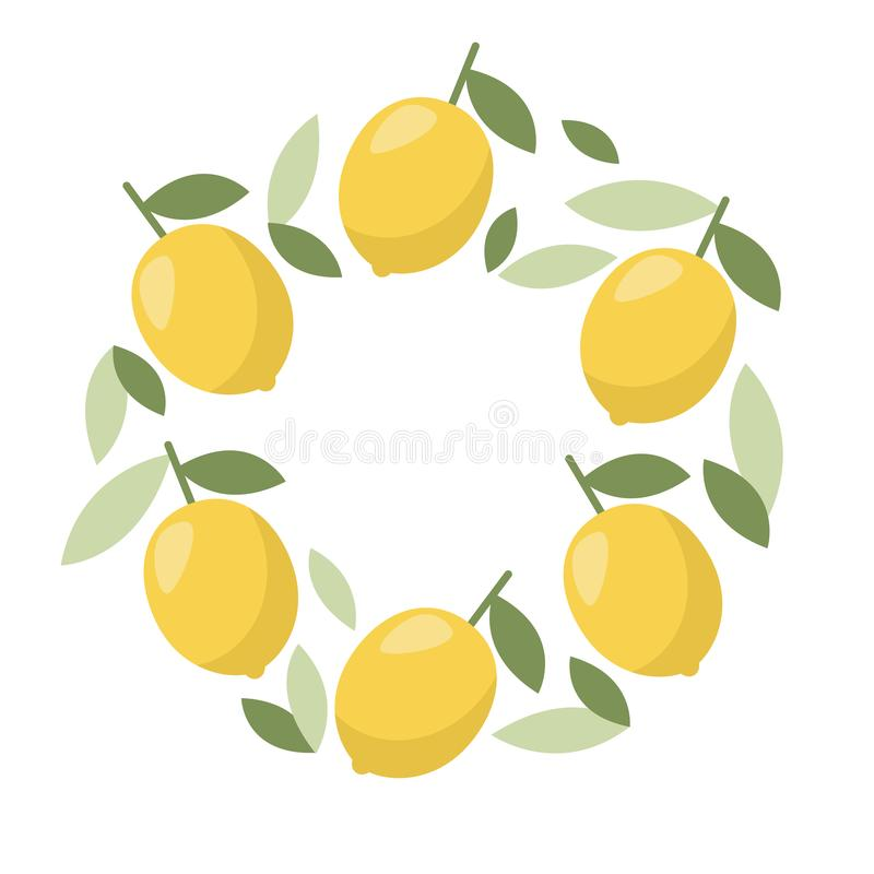Minimal summer lemon frame. Tropical fruit. Banner, poster template. Healthy food concept royalty free illustration