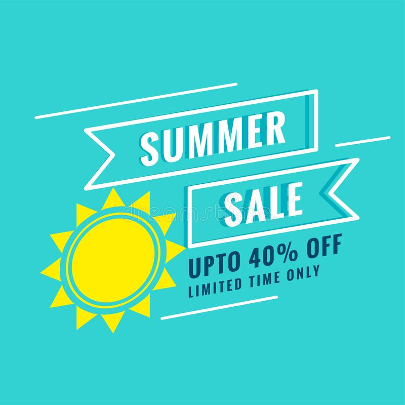Minimal summer sale poster with sun and offer details stock illustration