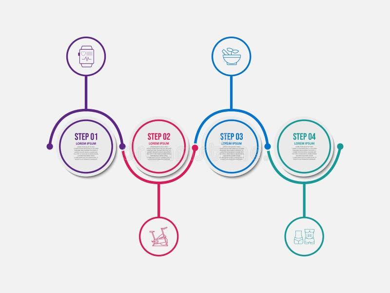Minimal timeline infographic template 4 options or steps. Business marketing logo vector illustration stock illustration