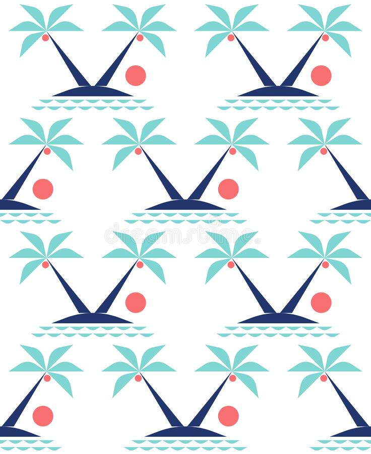 Minimal tropical landscape with coconut palm trees on cute island in ocean at sunset. Geometric seamless pattern on white background for fabric or print royalty free illustration