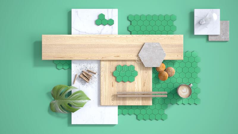 Minimal turquoise background, copy space, marble slab, wooden planks, cutting board, tiles, plant leaf, cappuccino, cookies,. Cinnamon. Kitchen interior design royalty free illustration