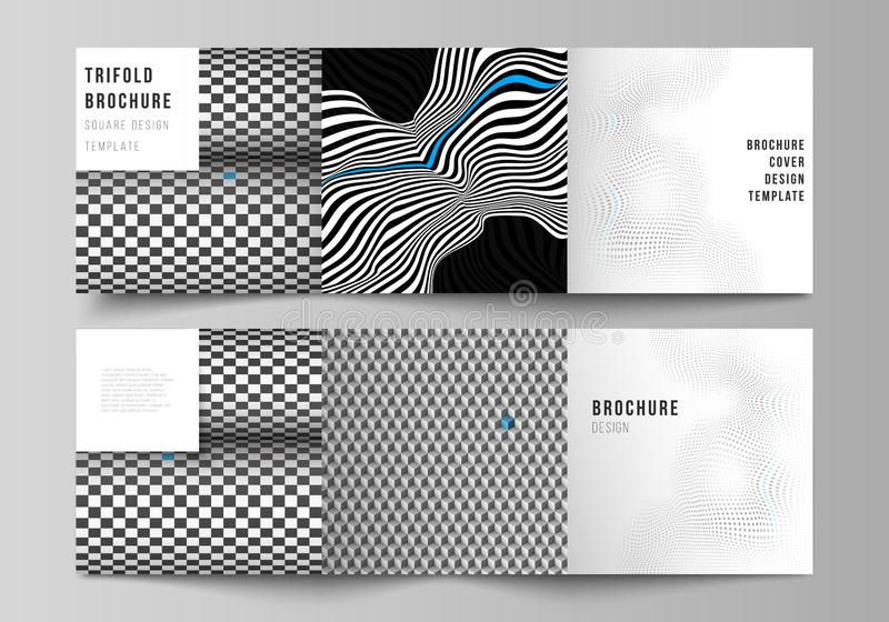 The minimal vector editable layout of square format covers design templates for trifold brochure, flyer, magazine. Abstract big data visualization concept royalty free illustration