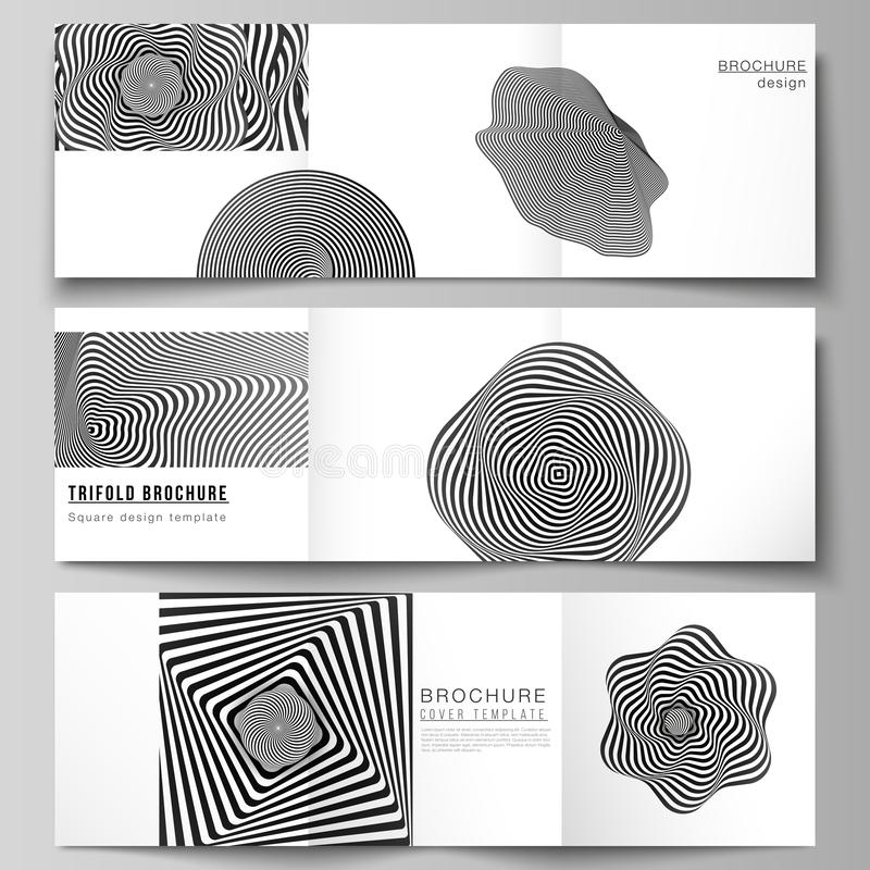 Minimal vector editable layout of square format covers design templates for trifold brochure, flyer, magazine. Abstract. 3D geometrical background with optical vector illustration