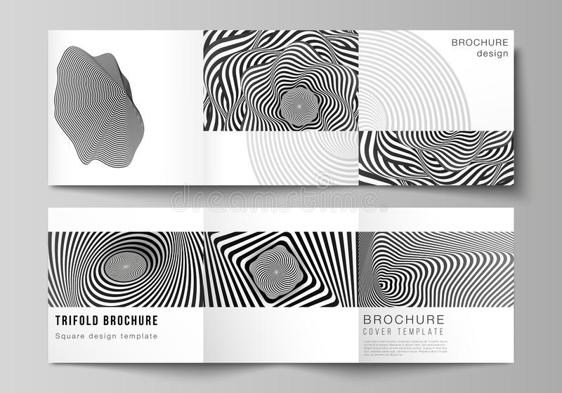Minimal vector editable layout of square format covers design templates for trifold brochure, flyer, magazine. Abstract. 3D geometrical background with optical royalty free illustration