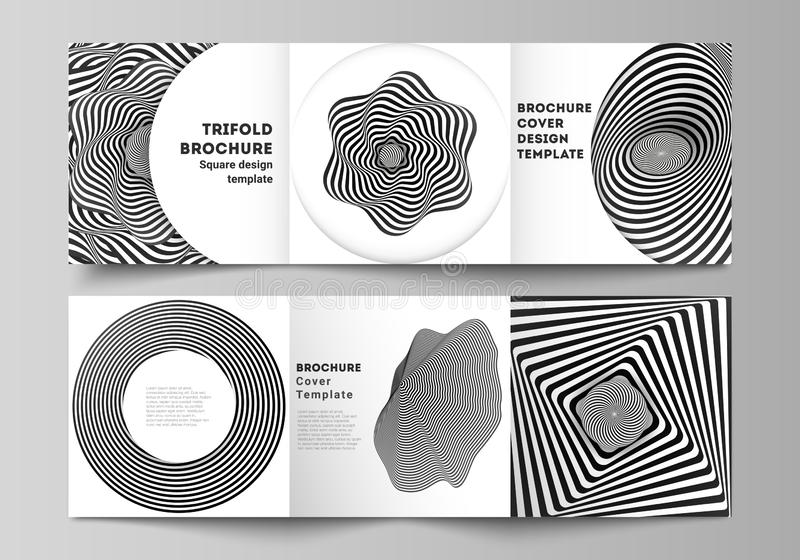 Minimal vector editable layout of square format covers design templates for trifold brochure, flyer, magazine. Abstract. 3D geometrical background with optical stock illustration