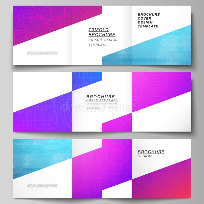 The minimal vector editable layout of square format covers design templates for trifold brochure, flyer, magazine. Abstract geometric pattern with colorful stock illustration