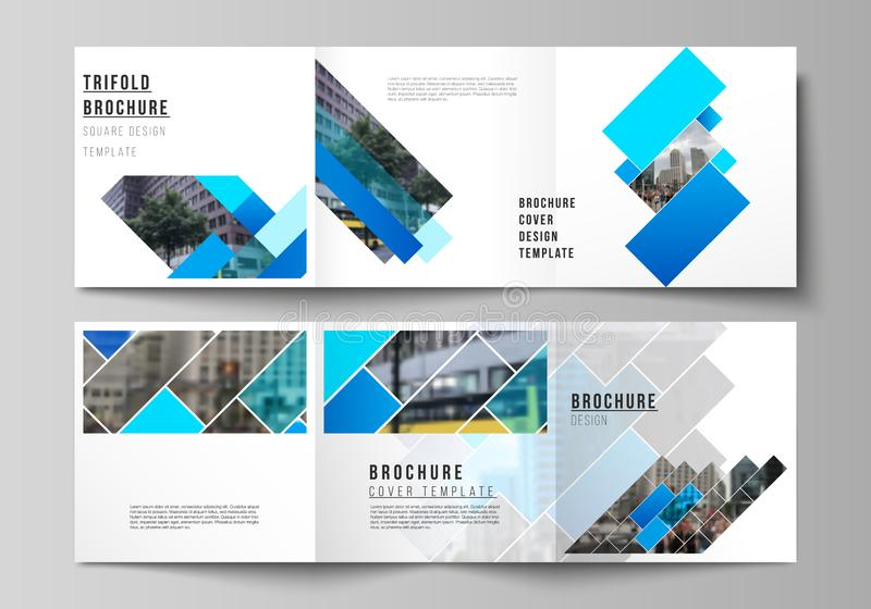 The minimal vector editable layout of square format covers design templates for trifold brochure, flyer, magazine. Abstract geometric pattern creative modern royalty free illustration