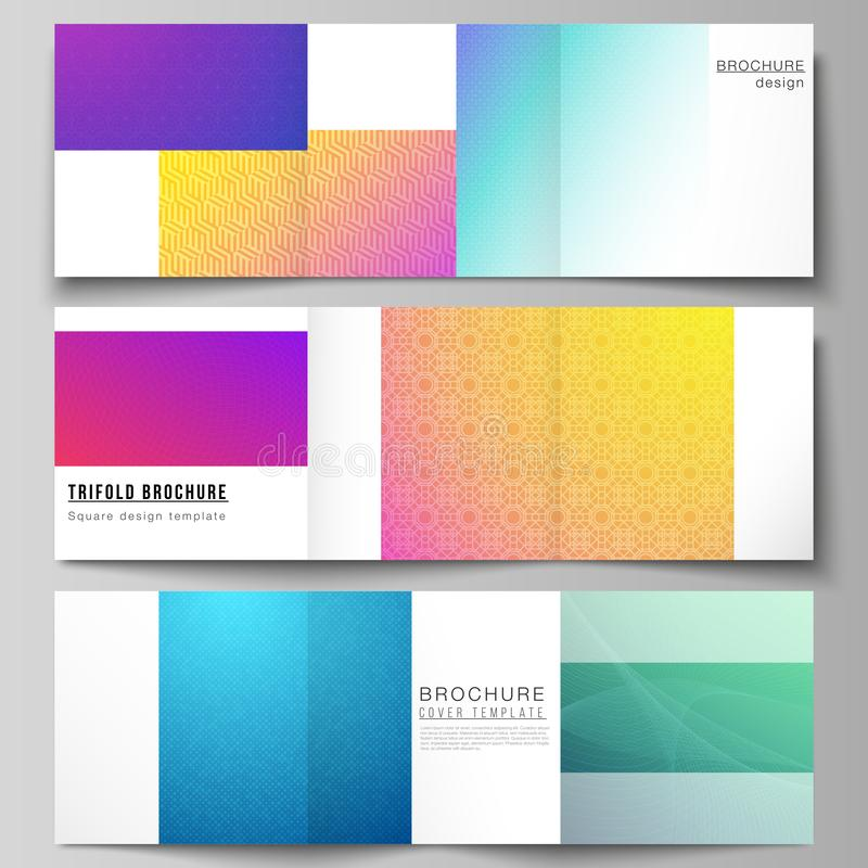 The minimal vector editable layout of square format covers design templates for trifold brochure, flyer, magazine. Abstract geometric pattern with colorful royalty free illustration