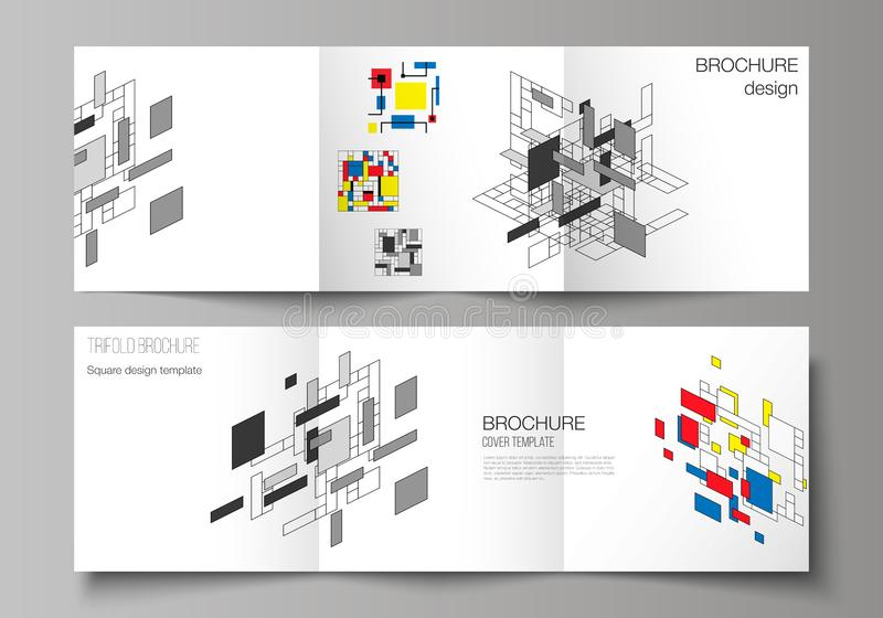 The minimal vector editable layout of square format covers design templates for trifold brochure, flyer, magazine. Abstract polygonal background, colorful vector illustration