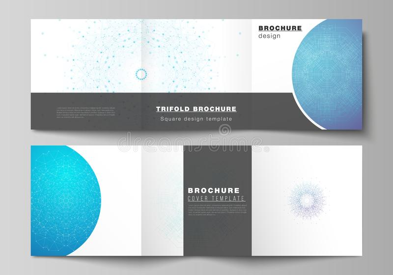 Minimal vector editable layout of square format covers design templates for trifold brochure, flyer, magazine. Big Data. Visualization, geometric communication royalty free illustration