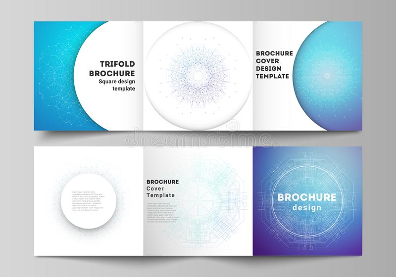 Minimal vector editable layout of square format covers design templates for trifold brochure, flyer, magazine. Big Data. Visualization, geometric communication vector illustration