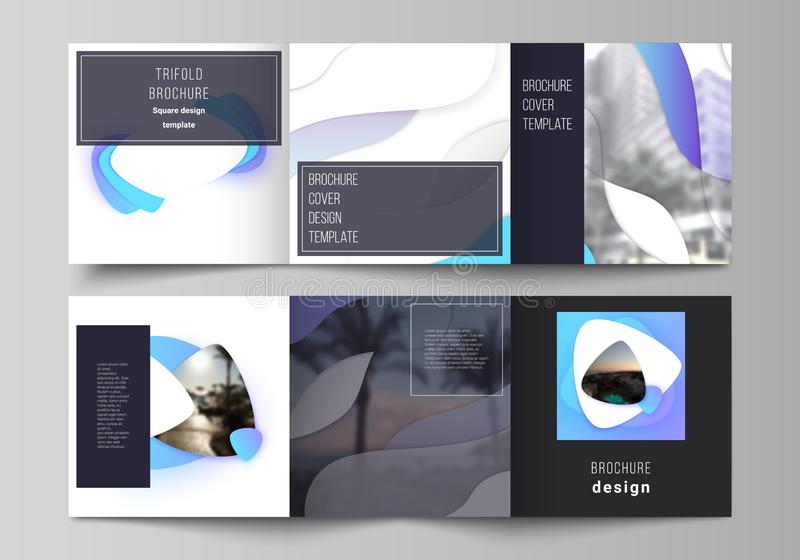 The minimal vector editable layout of square format covers design templates for trifold brochure, flyer, magazine. Blue vector illustration