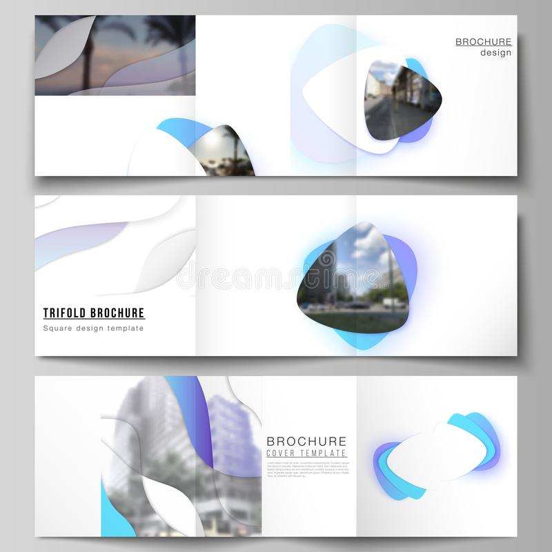 The minimal vector editable layout of square format covers design templates for trifold brochure, flyer, magazine. Blue. Color gradient abstract dynamic shapes vector illustration