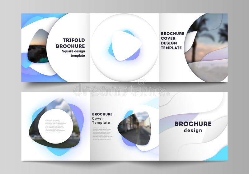 The minimal vector editable layout of square format covers design templates for trifold brochure, flyer, magazine. Blue. Color gradient abstract dynamic shapes stock illustration