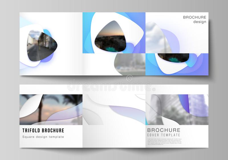 The minimal vector editable layout of square format covers design templates for trifold brochure, flyer, magazine. Blue. Color gradient abstract dynamic shapes royalty free illustration