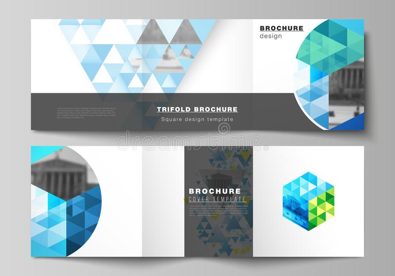 The minimal vector editable layout of square format covers design templates for trifold brochure, flyer, magazine. Blue. Color polygonal background with stock illustration
