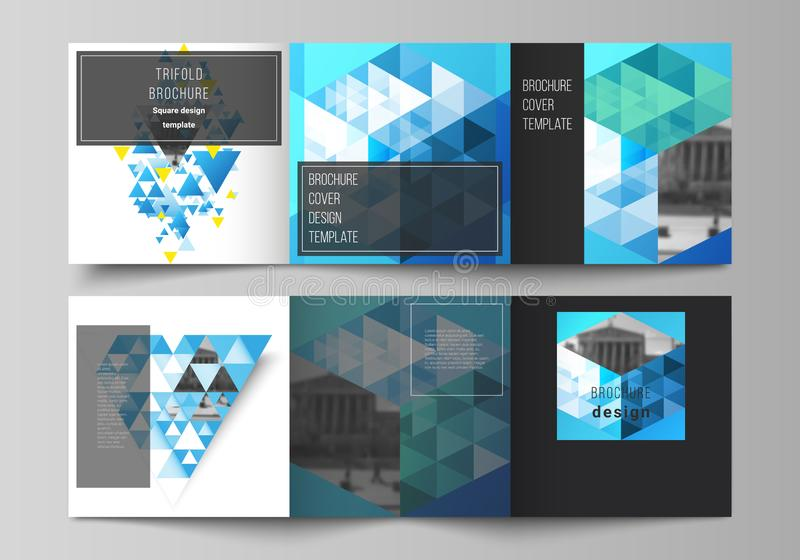 The minimal vector editable layout of square format covers design templates for trifold brochure, flyer, magazine. Blue. Color polygonal background with vector illustration