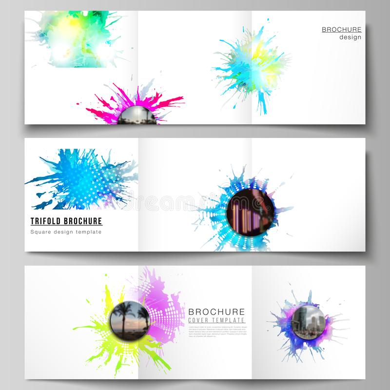 The minimal vector editable layout of square format covers design templates for trifold brochure, flyer, magazine. Colorful watercolor paint stains vector royalty free illustration