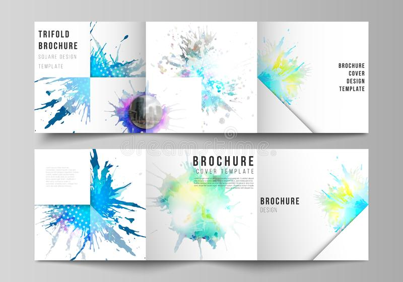 The minimal vector editable layout of square format covers design templates for trifold brochure, flyer, magazine. Colorful watercolor paint stains vector vector illustration