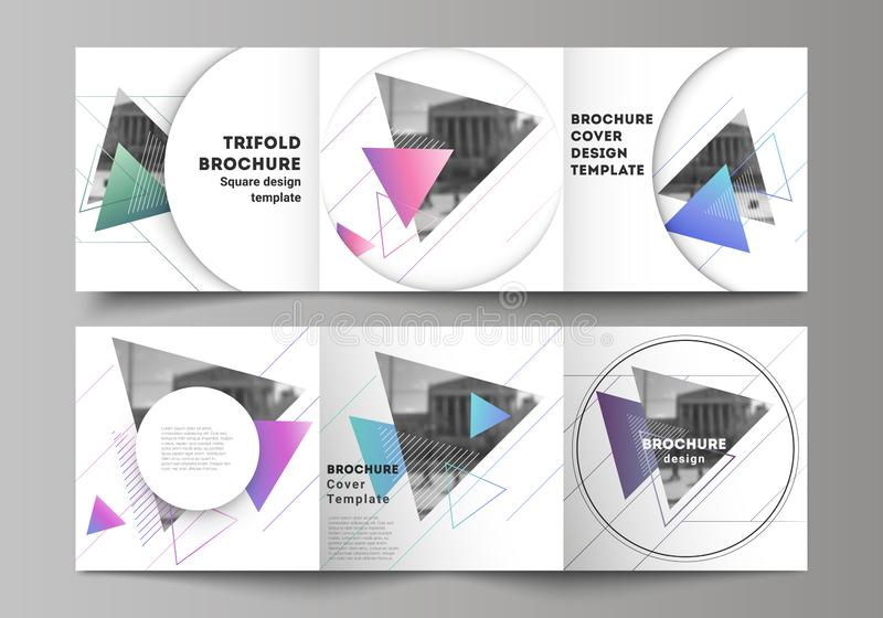 The minimal vector editable layout of square format covers design templates for trifold brochure, flyer, magazine. Colorful polygonal background with triangles stock illustration