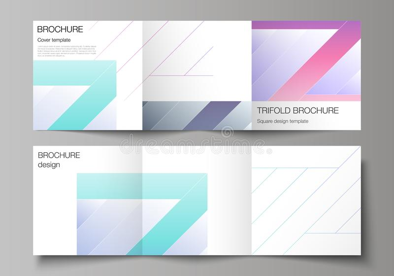 The minimal vector editable layout of square format covers design templates for trifold brochure, flyer, magazine. Creative modern cover concept, colorful royalty free illustration