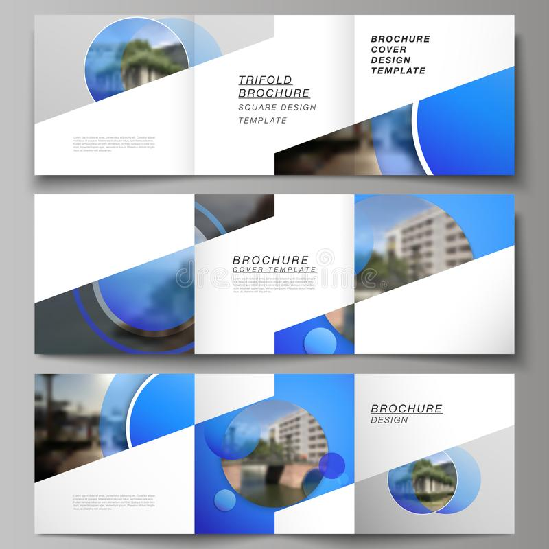 The minimal vector editable layout of square format covers design templates for trifold brochure, flyer, magazine. Creative modern blue background with circles royalty free illustration