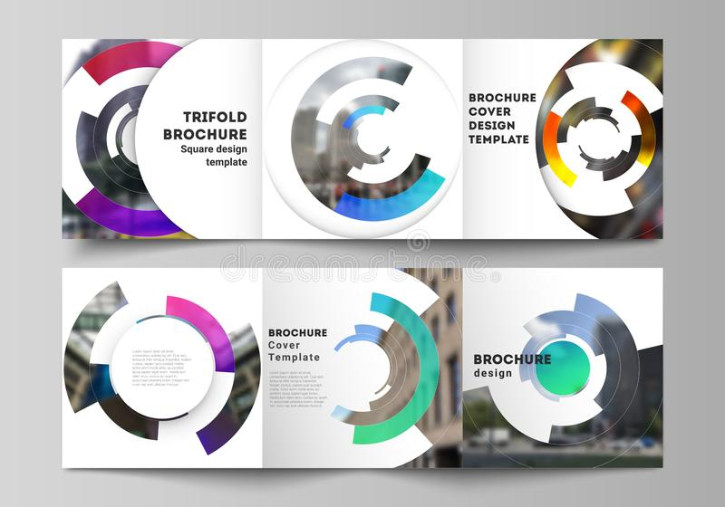 The minimal vector editable layout of square format covers design templates for trifold brochure, flyer, magazine. Futuristic design circular pattern, circle vector illustration