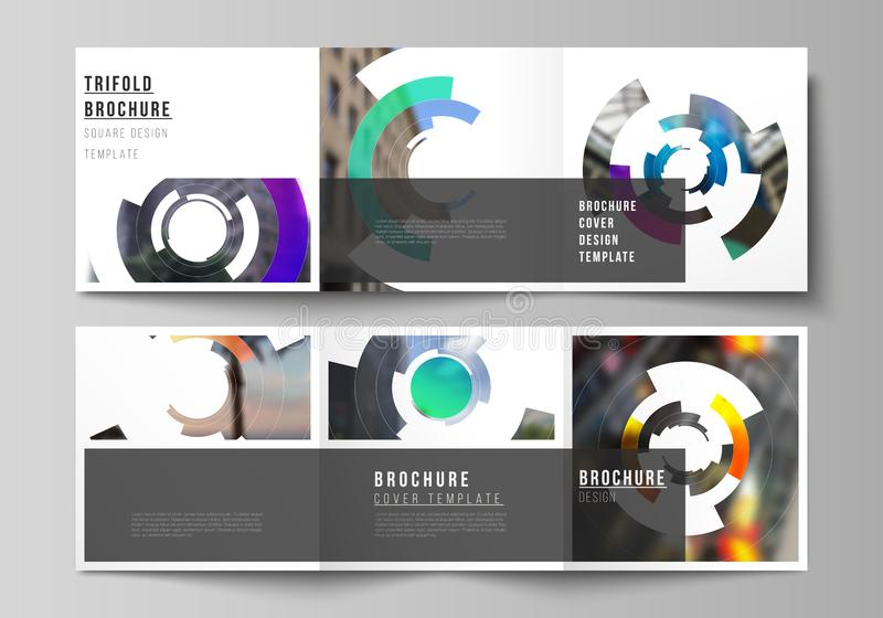 The minimal vector editable layout of square format covers design templates for trifold brochure, flyer, magazine. Futuristic design circular pattern, circle stock illustration
