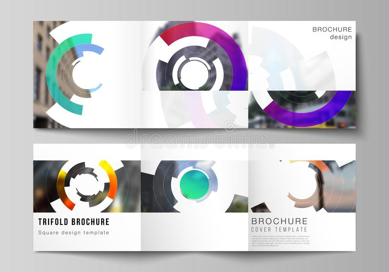The minimal vector editable layout of square format covers design templates for trifold brochure, flyer, magazine. Futuristic design circular pattern, circle royalty free illustration