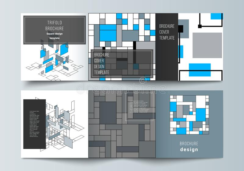 The minimal vector editable layout of square format covers design templates for trifold brochure, flyer, magazine. Abstract polygonal background, colorful stock illustration